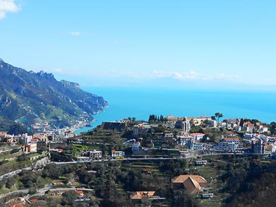 Panorama di Ravello da Scala. Cycling Amalfi Coast